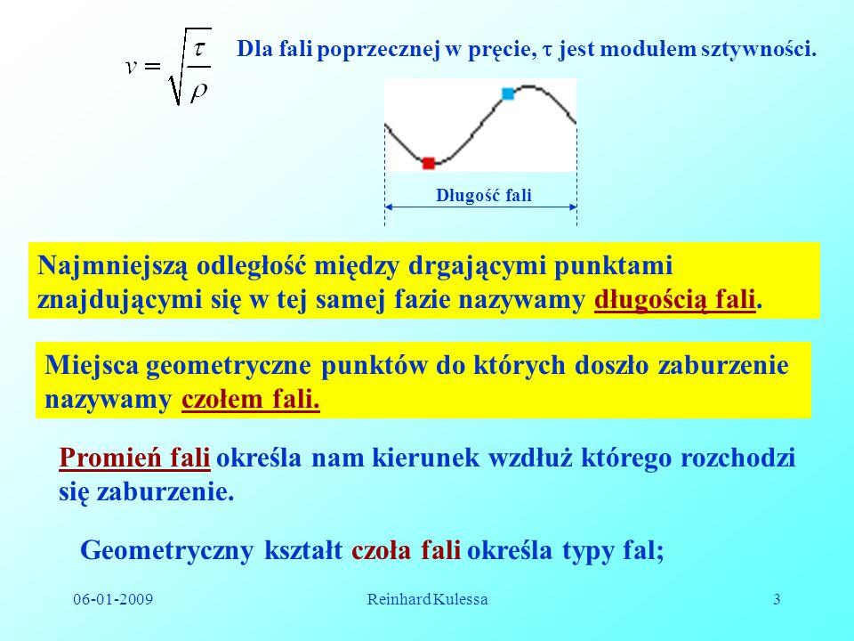 Geometryczny kształt czoła fali określa typy fal;