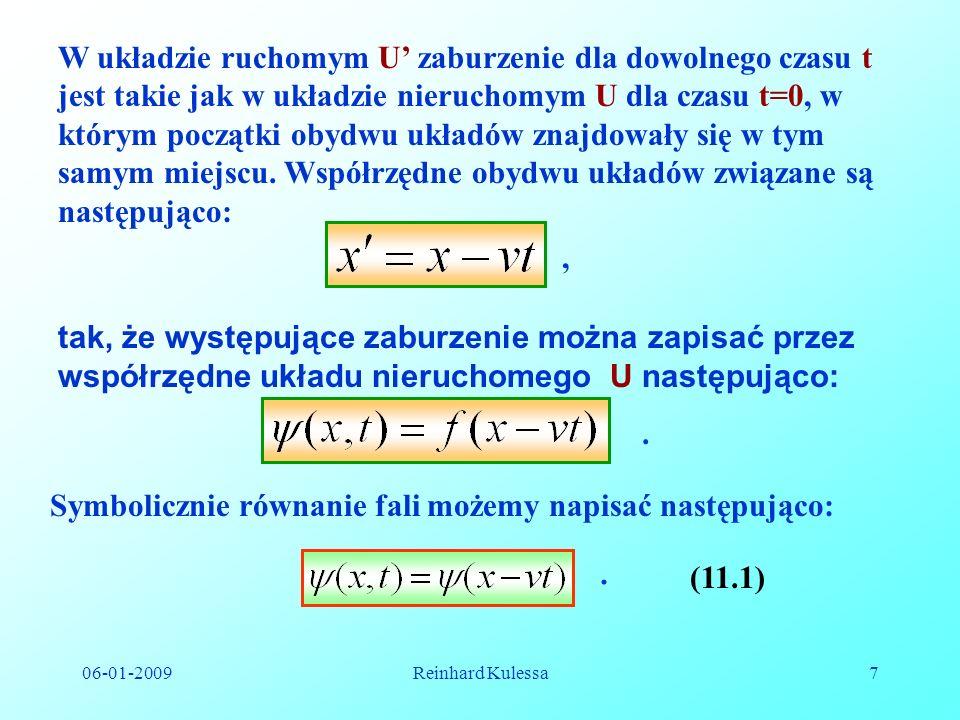 Symbolicznie równanie fali możemy napisać następująco: