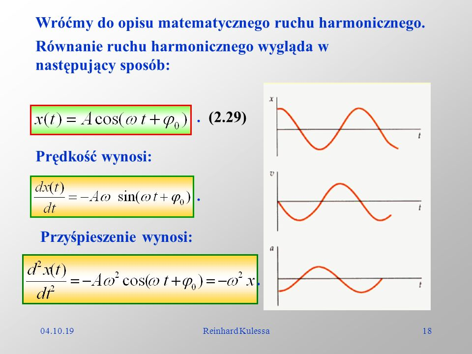 Wróćmy do opisu matematycznego ruchu harmonicznego.