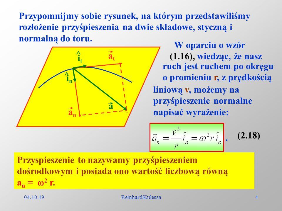 ruch jest ruchem po okręgu o promieniu r, z prędkością