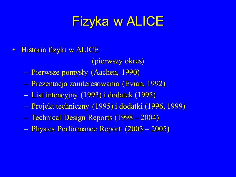 Fizyka w ALICE Historia fizyki w ALICE (pierwszy okres)