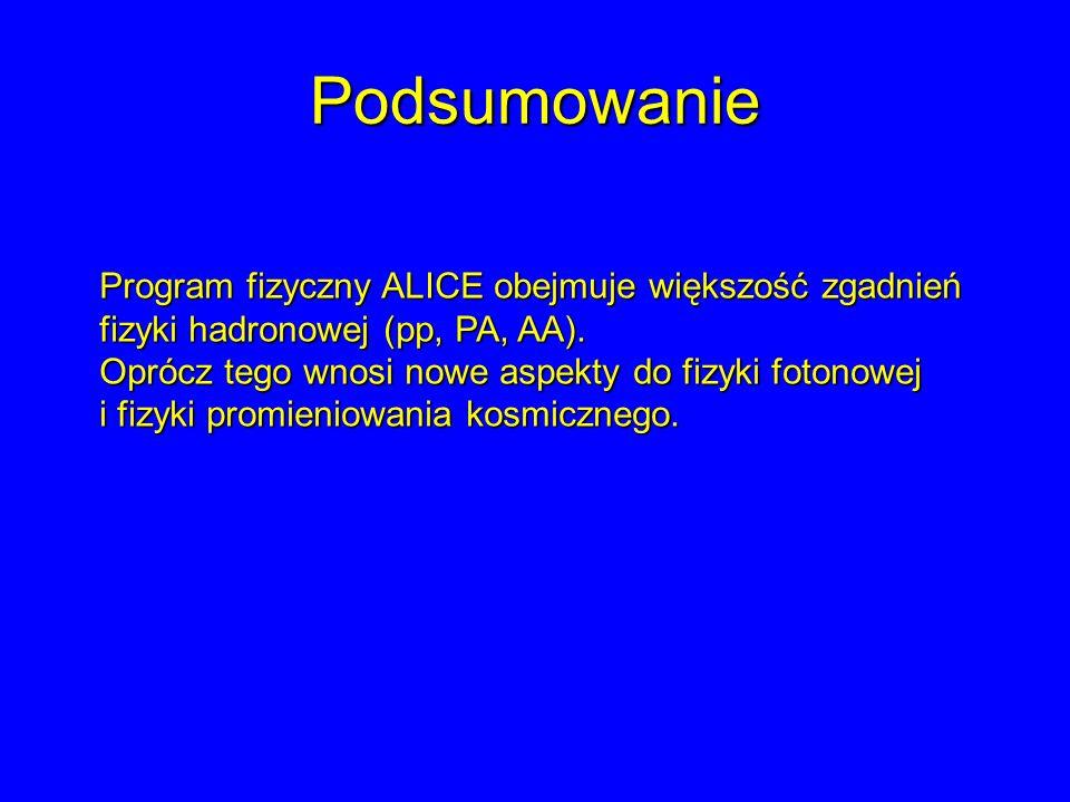 Podsumowanie Program fizyczny ALICE obejmuje większość zgadnień