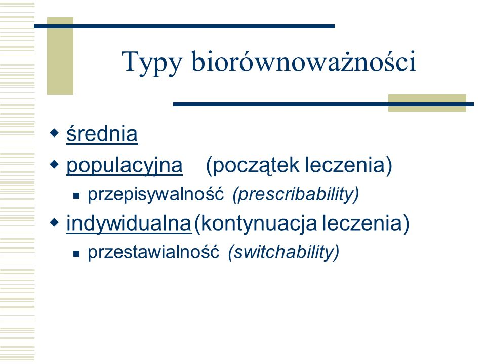 Typy biorównoważności