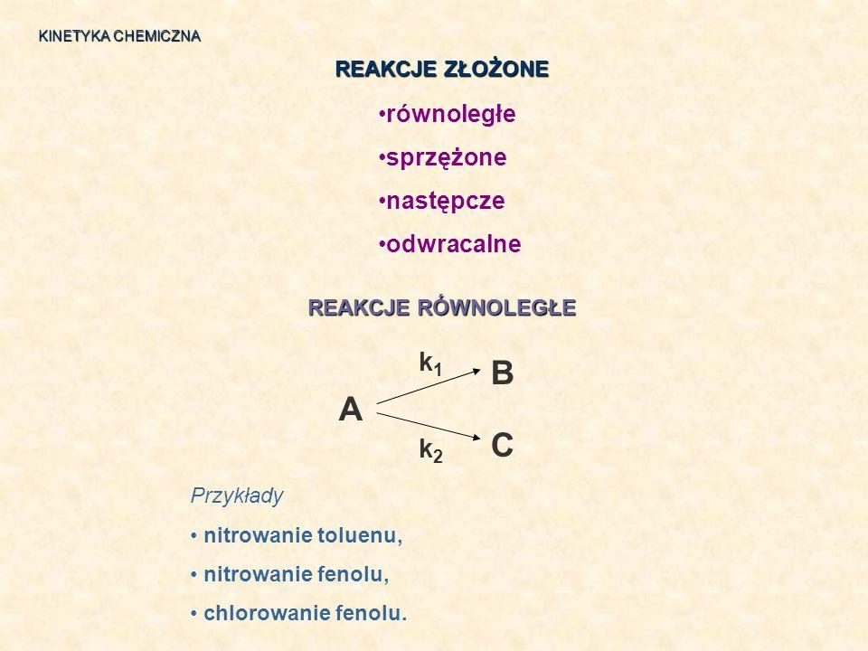 B A C k1 k2 równoległe sprzężone następcze odwracalne REAKCJE ZŁOŻONE