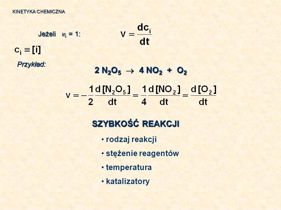 2 N2O5  4 NO2 + O2 SZYBKOŚĆ REAKCJI rodzaj reakcji stężenie reagentów