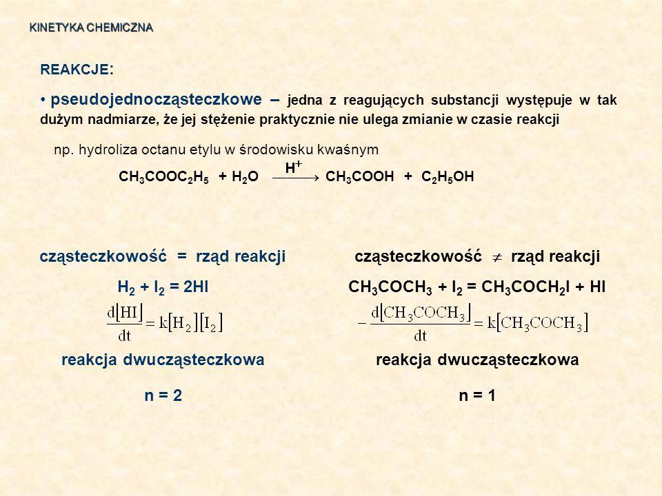 np. hydroliza octanu etylu w środowisku kwaśnym