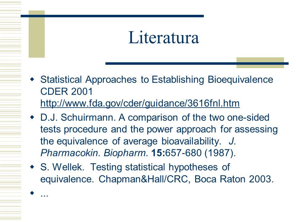 Literatura Statistical Approaches to Establishing Bioequivalence CDER 2001 http://www.fda.gov/cder/guidance/3616fnl.htm.