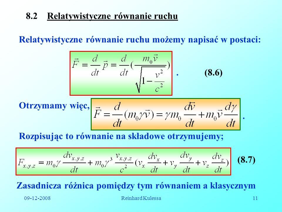 8.2 Relatywistyczne równanie ruchu