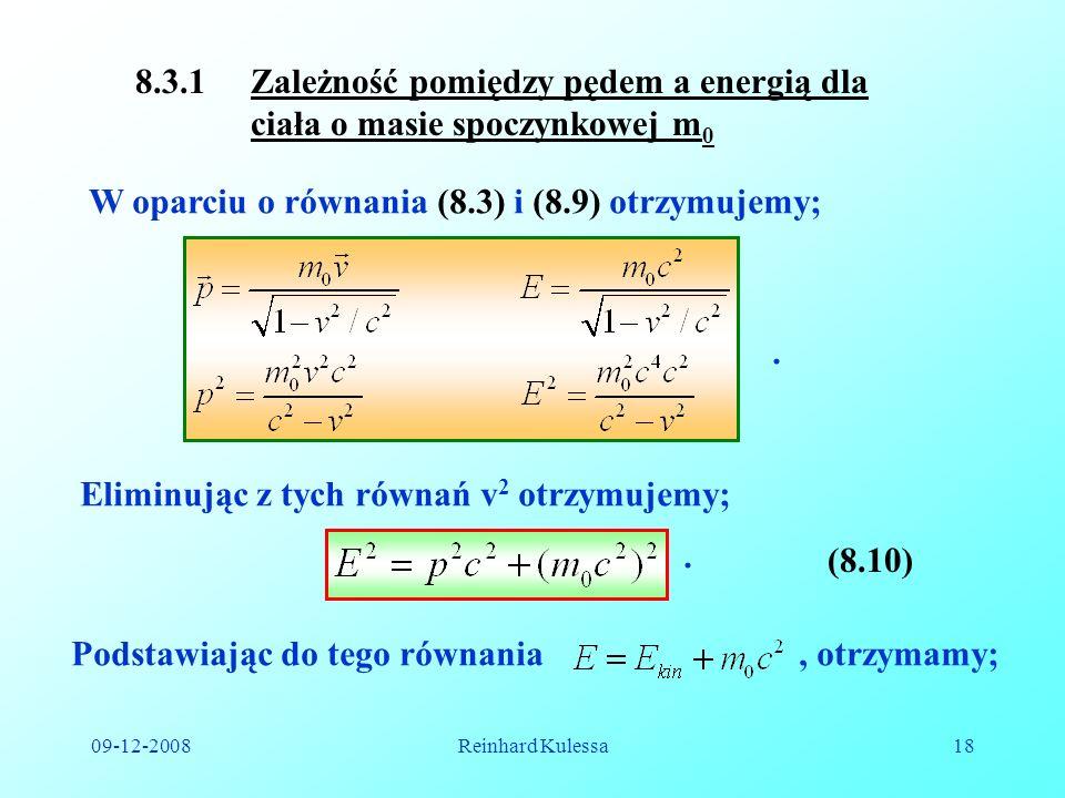 8.3.1 Zależność pomiędzy pędem a energią dla