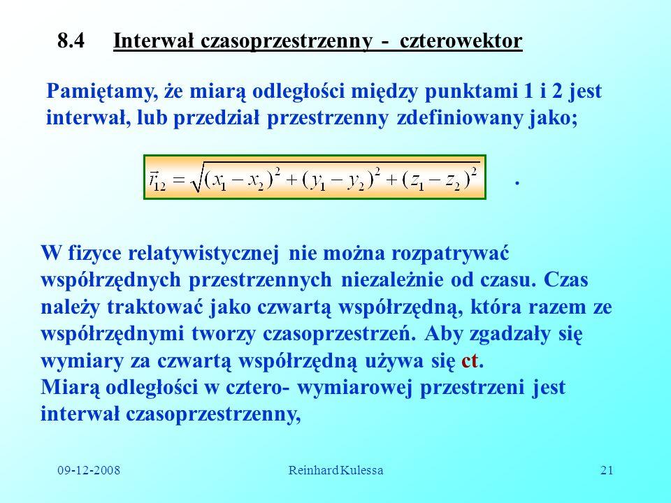 8.4 Interwał czasoprzestrzenny - czterowektor