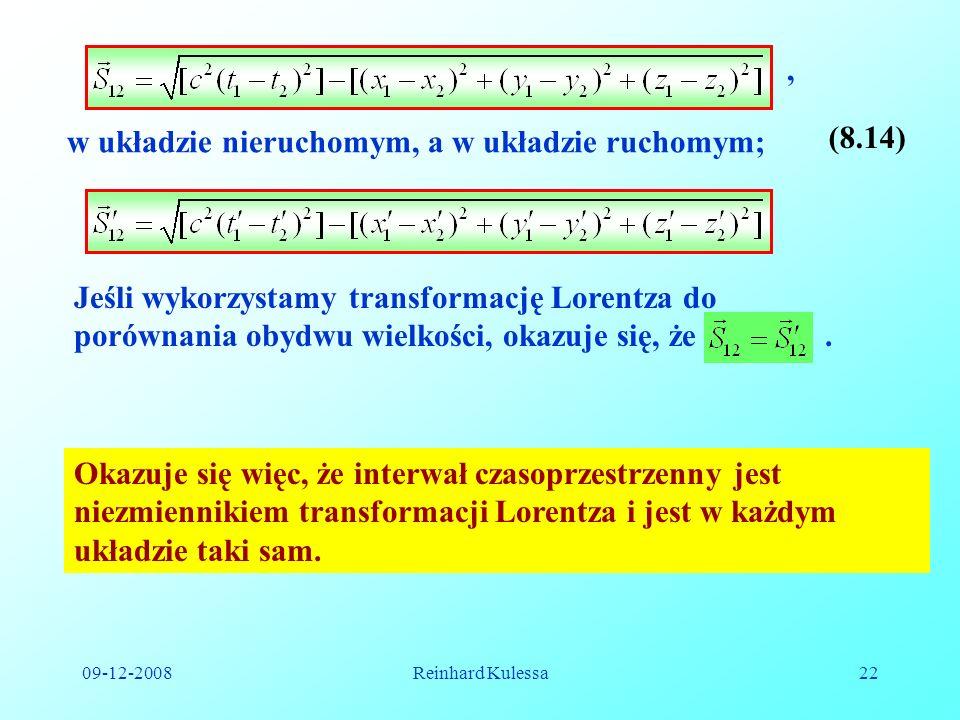 w układzie nieruchomym, a w układzie ruchomym; (8.14)
