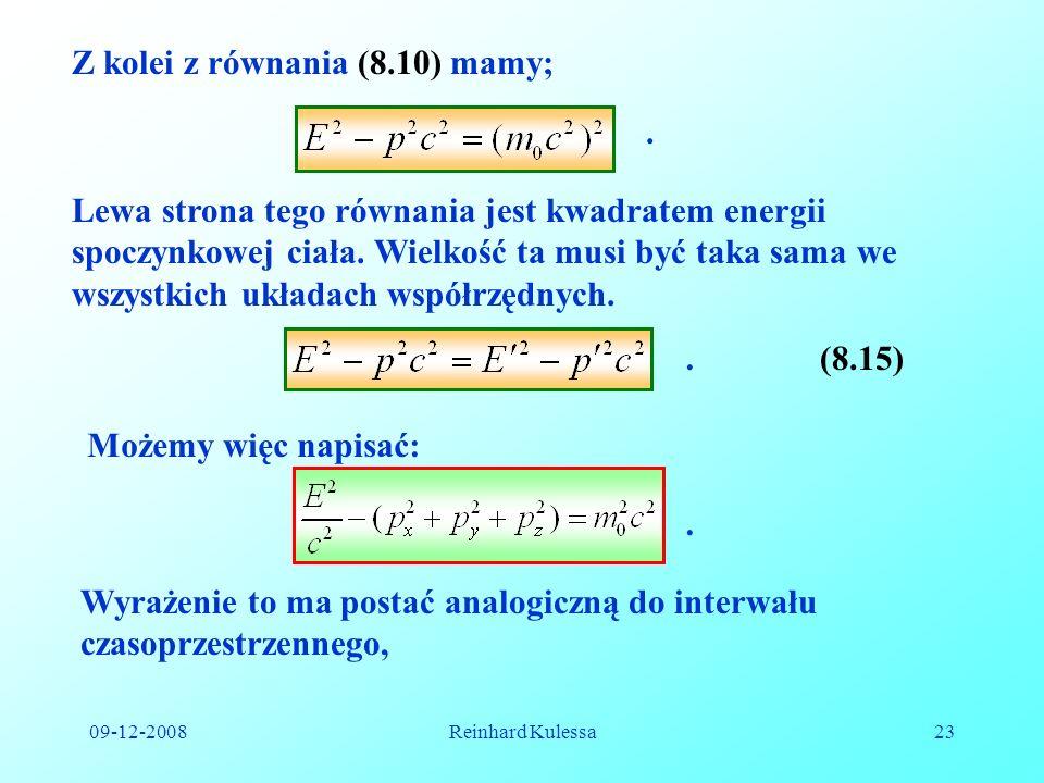 Z kolei z równania (8.10) mamy;