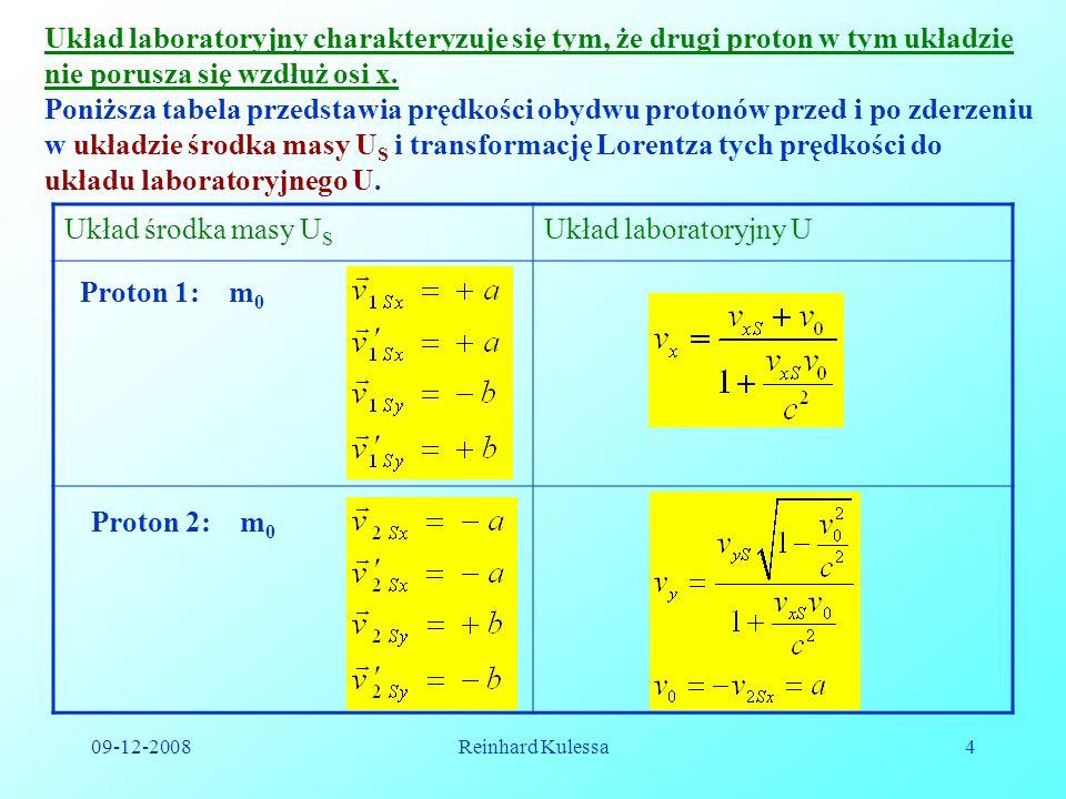 Układ laboratoryjny charakteryzuje się tym, że drugi proton w tym układzie nie porusza się wzdłuż osi x.