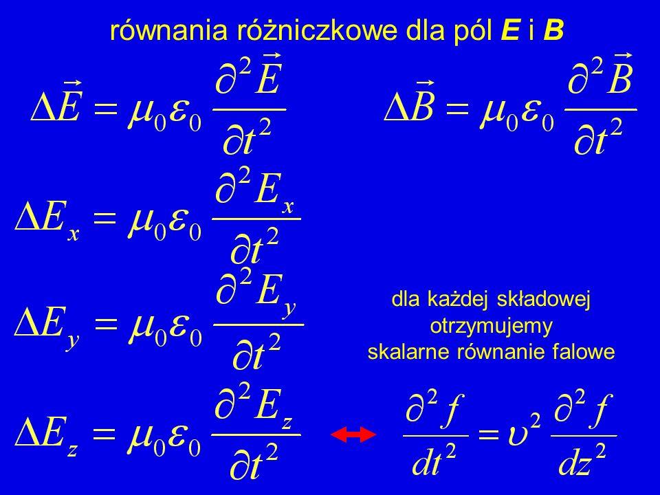 równania różniczkowe dla pól E i B