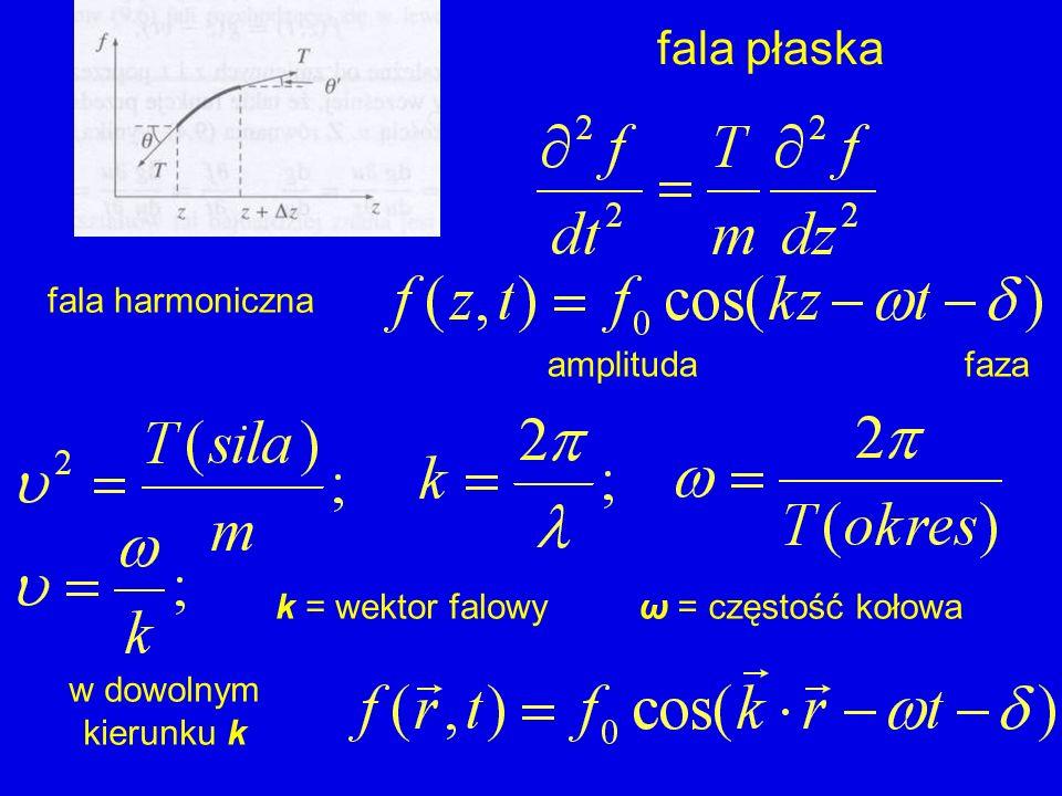 fala płaska fala harmoniczna amplituda faza k = wektor falowy