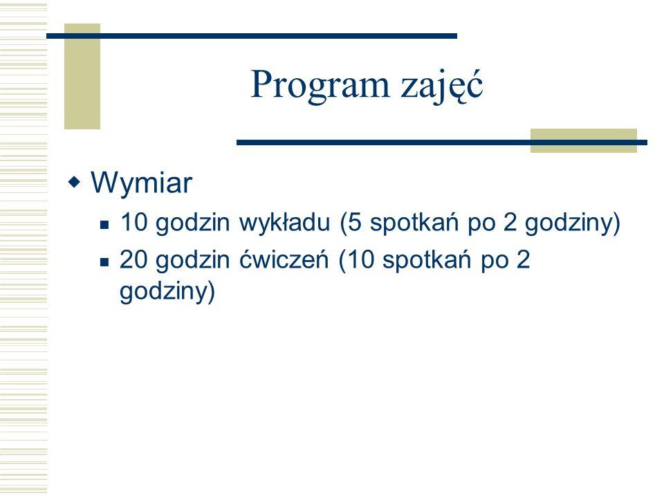 Program zajęć Wymiar 10 godzin wykładu (5 spotkań po 2 godziny)
