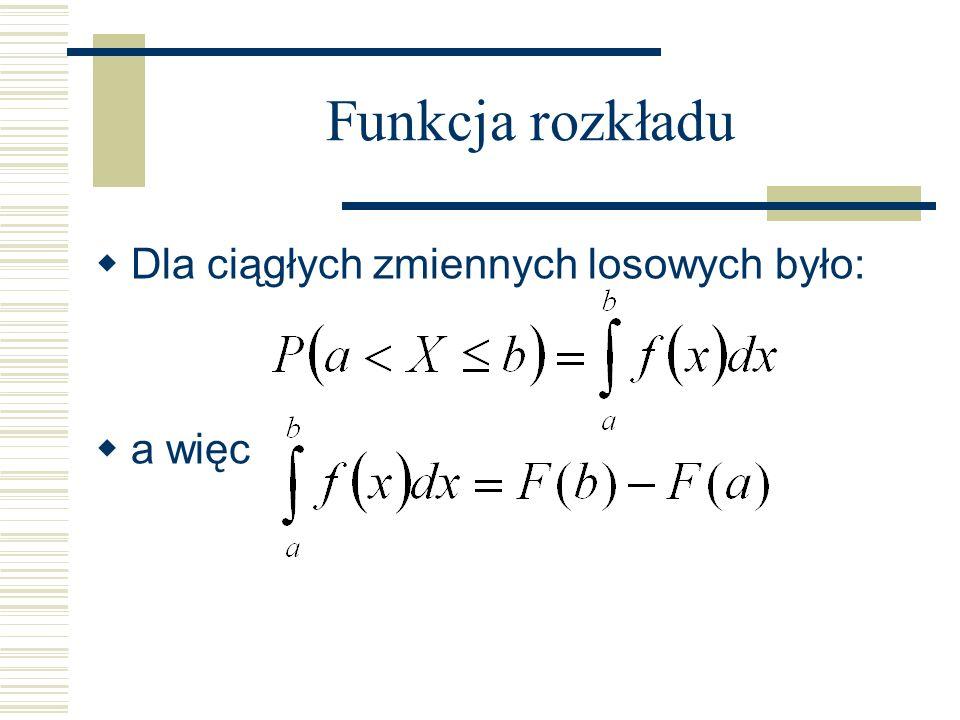 Funkcja rozkładu Dla ciągłych zmiennych losowych było: a więc