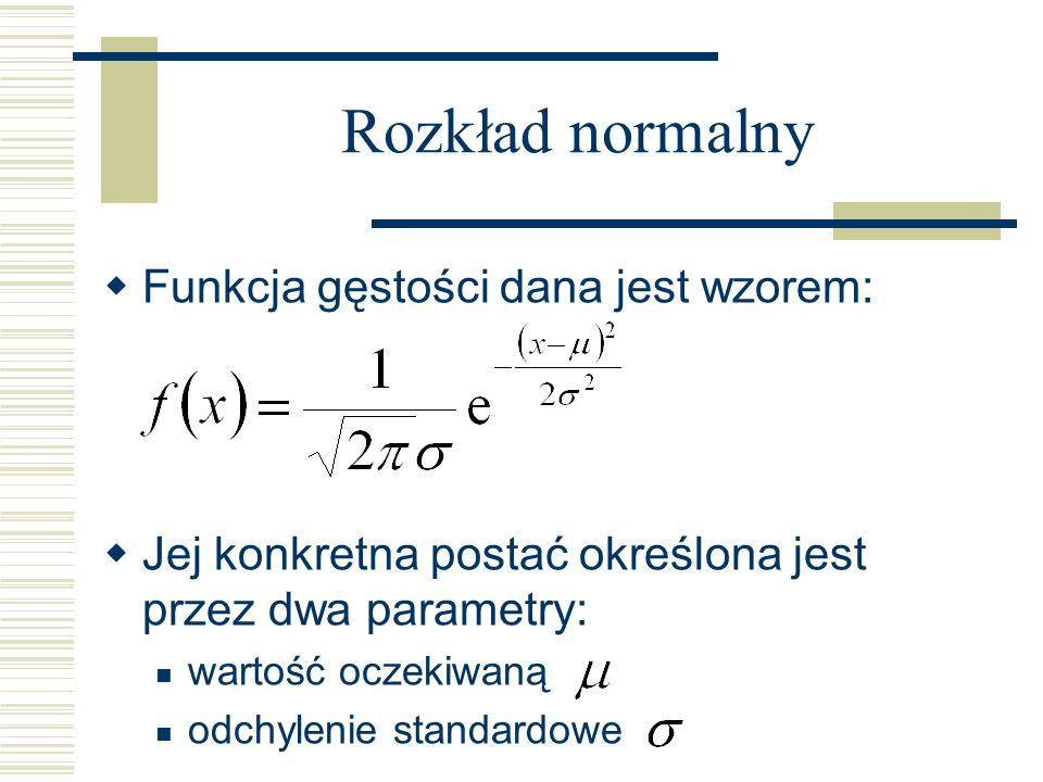 Rozkład normalny Funkcja gęstości dana jest wzorem:
