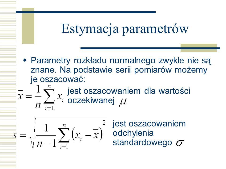 Estymacja parametrów Parametry rozkładu normalnego zwykle nie są znane. Na podstawie serii pomiarów możemy je oszacować:
