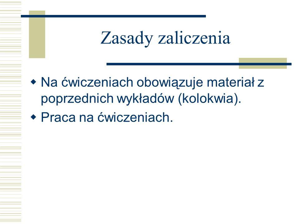 Zasady zaliczenia Na ćwiczeniach obowiązuje materiał z poprzednich wykładów (kolokwia).