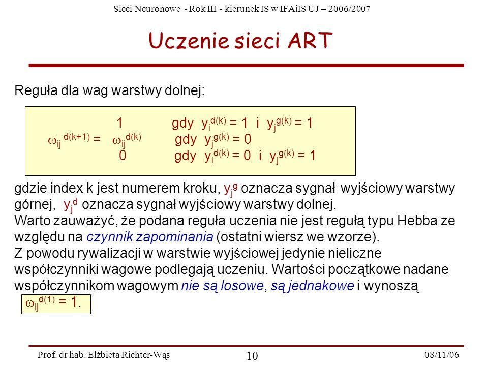 Uczenie sieci ART Reguła dla wag warstwy dolnej:
