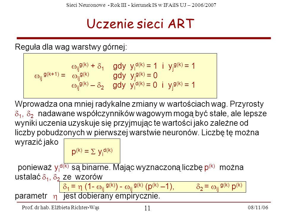 Uczenie sieci ART Reguła dla wag warstwy górnej: