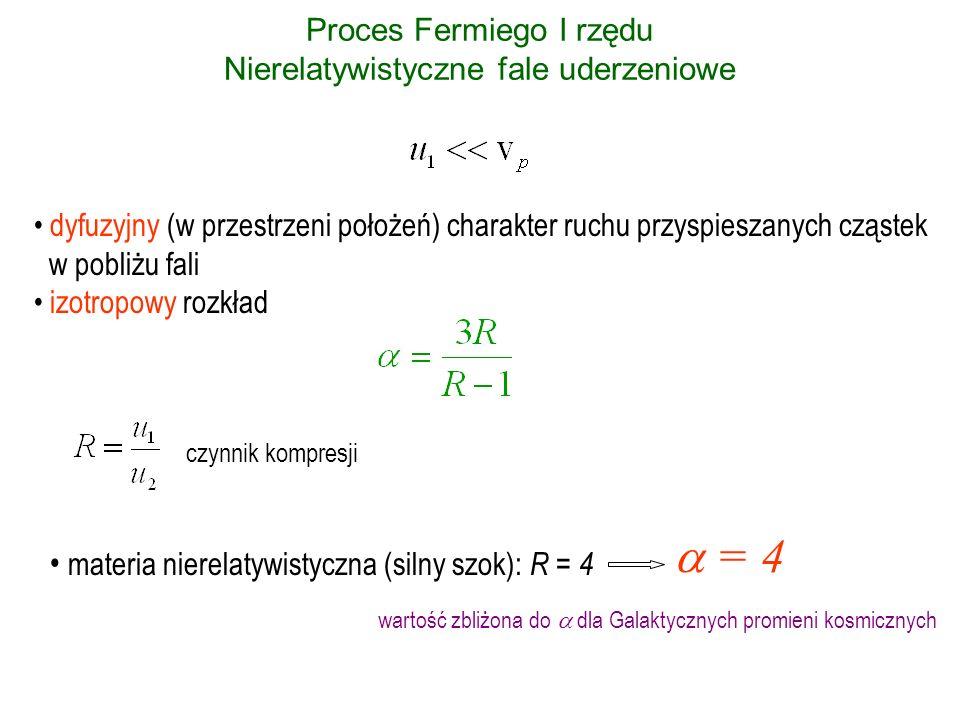 Proces Fermiego I rzędu Nierelatywistyczne fale uderzeniowe