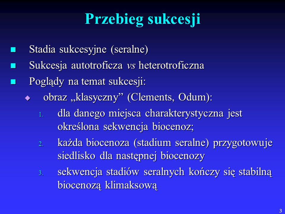 Przebieg sukcesji Stadia sukcesyjne (seralne)