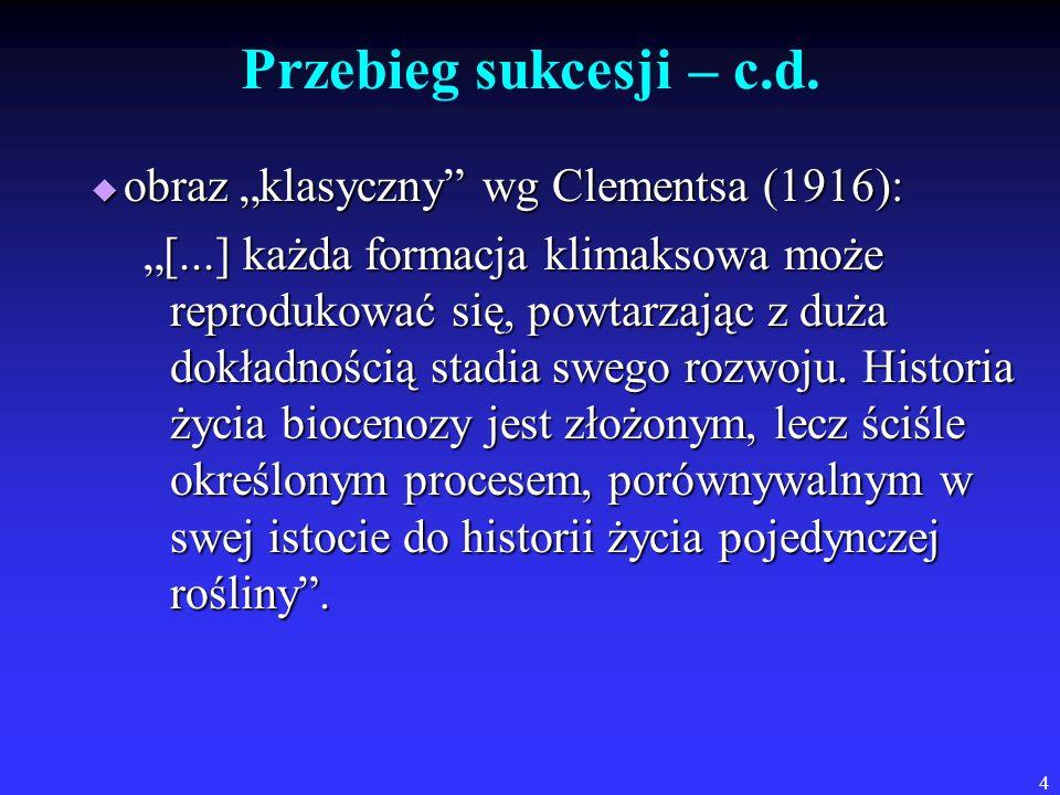 """Przebieg sukcesji – c.d. obraz """"klasyczny wg Clementsa (1916):"""