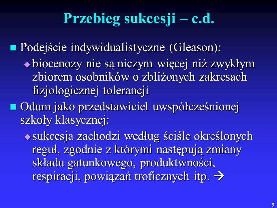Przebieg sukcesji – c.d. Podejście indywidualistyczne (Gleason):