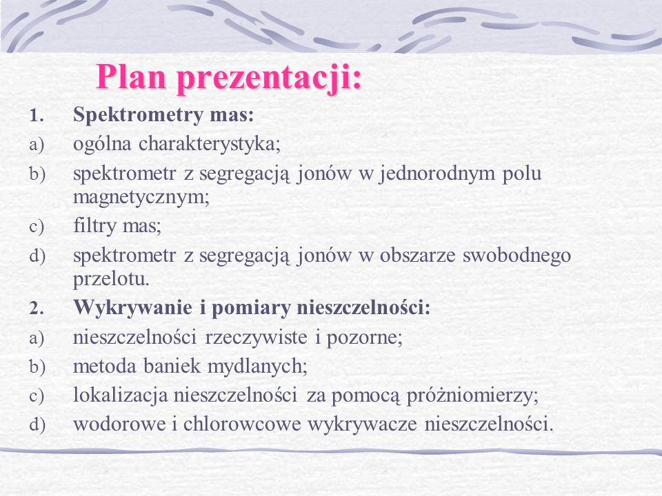 Plan prezentacji: Spektrometry mas: ogólna charakterystyka;