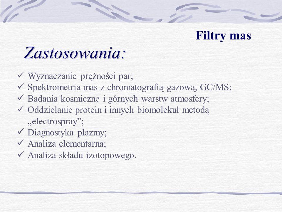 Zastosowania: Filtry mas Wyznaczanie prężności par;
