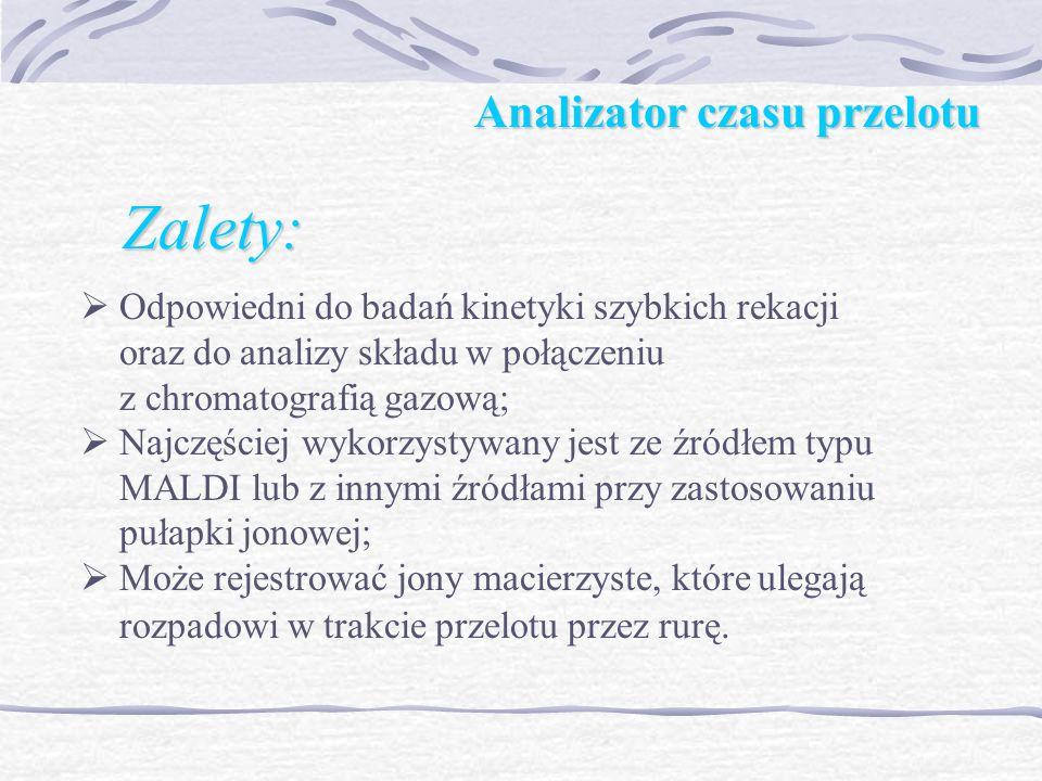 Analizator czasu przelotu Zalety: