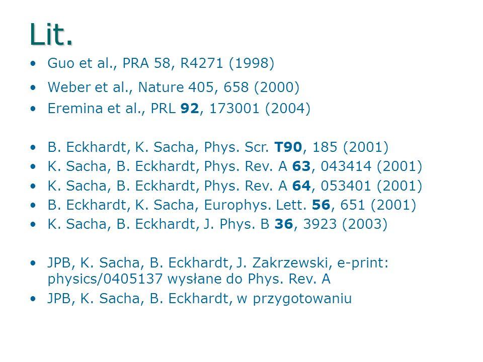 Lit.Guo et al., PRA 58, R4271 (1998) Weber et al., Nature 405, 658 (2000) Eremina et al., PRL 92, 173001 (2004)
