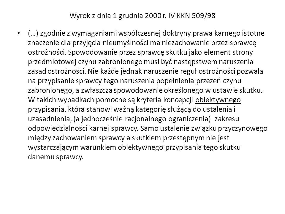 Wyrok z dnia 1 grudnia 2000 r. IV KKN 509/98