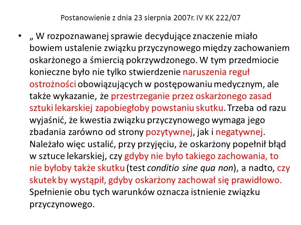 Postanowienie z dnia 23 sierpnia 2007r. IV KK 222/07