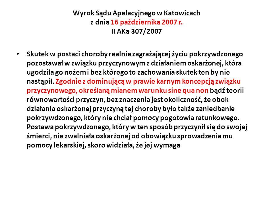 Wyrok Sądu Apelacyjnego w Katowicach z dnia 16 października 2007 r