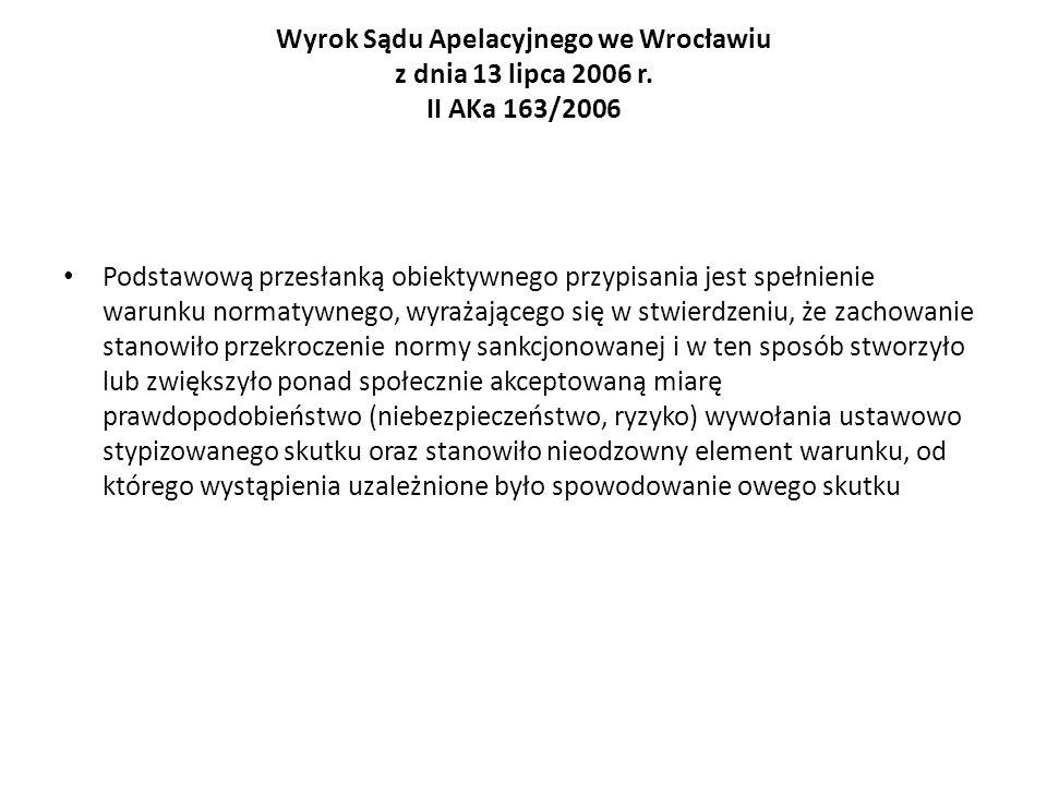 Wyrok Sądu Apelacyjnego we Wrocławiu z dnia 13 lipca 2006 r