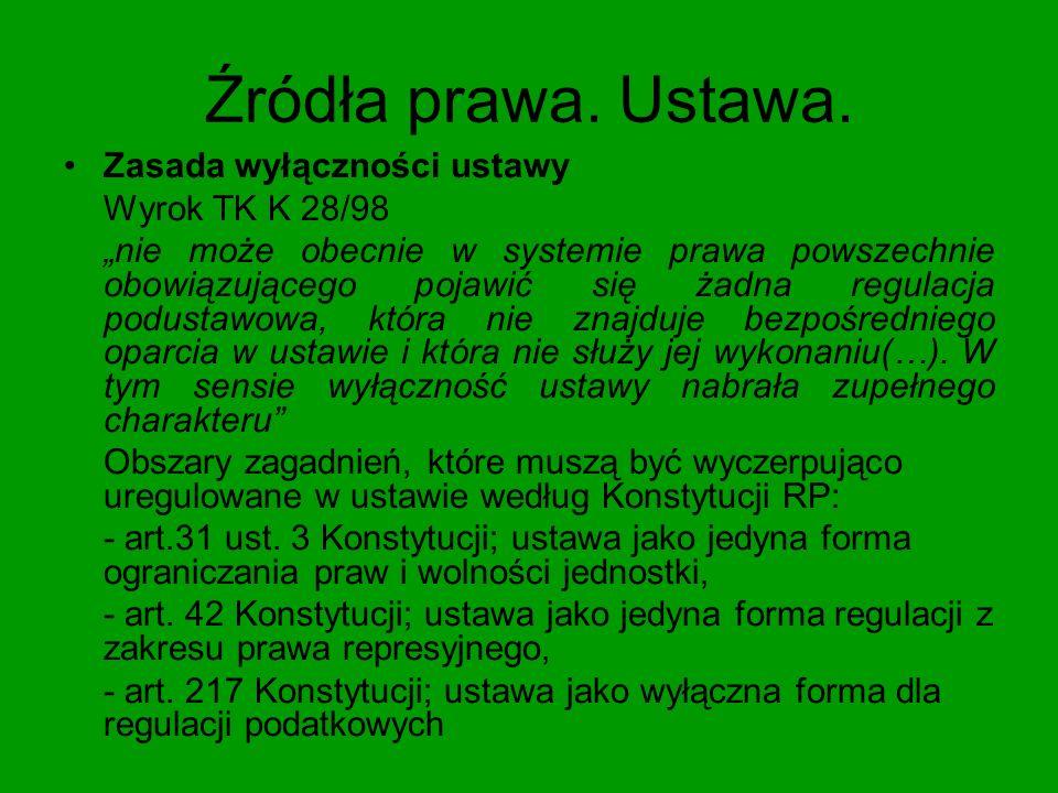 Źródła prawa. Ustawa. Zasada wyłączności ustawy Wyrok TK K 28/98