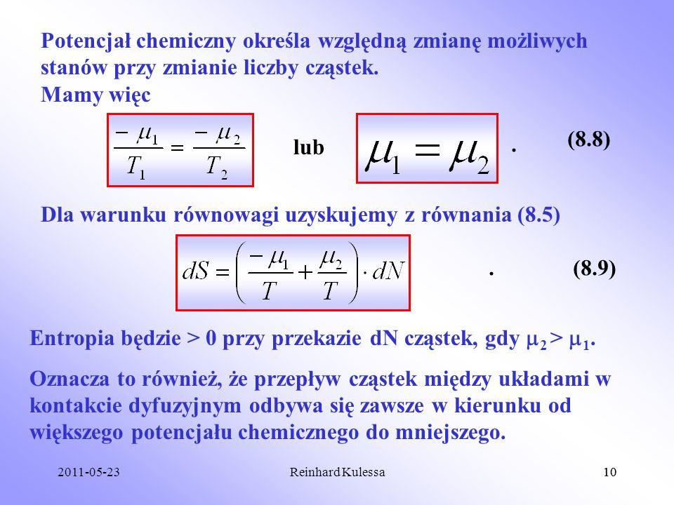 Dla warunku równowagi uzyskujemy z równania (8.5)