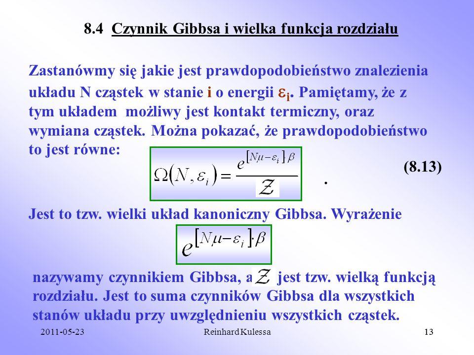 8.4 Czynnik Gibbsa i wielka funkcja rozdziału