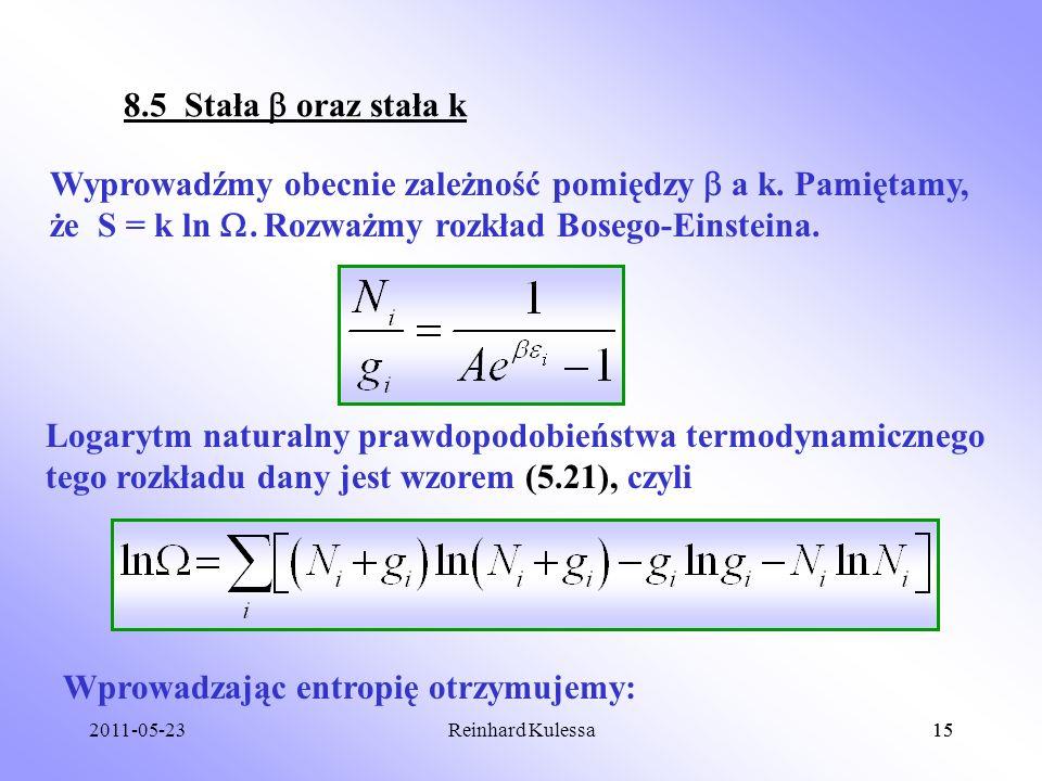 Wprowadzając entropię otrzymujemy: