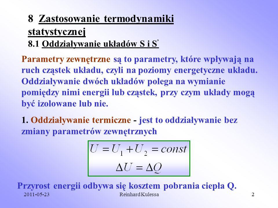 8 Zastosowanie termodynamiki statystycznej