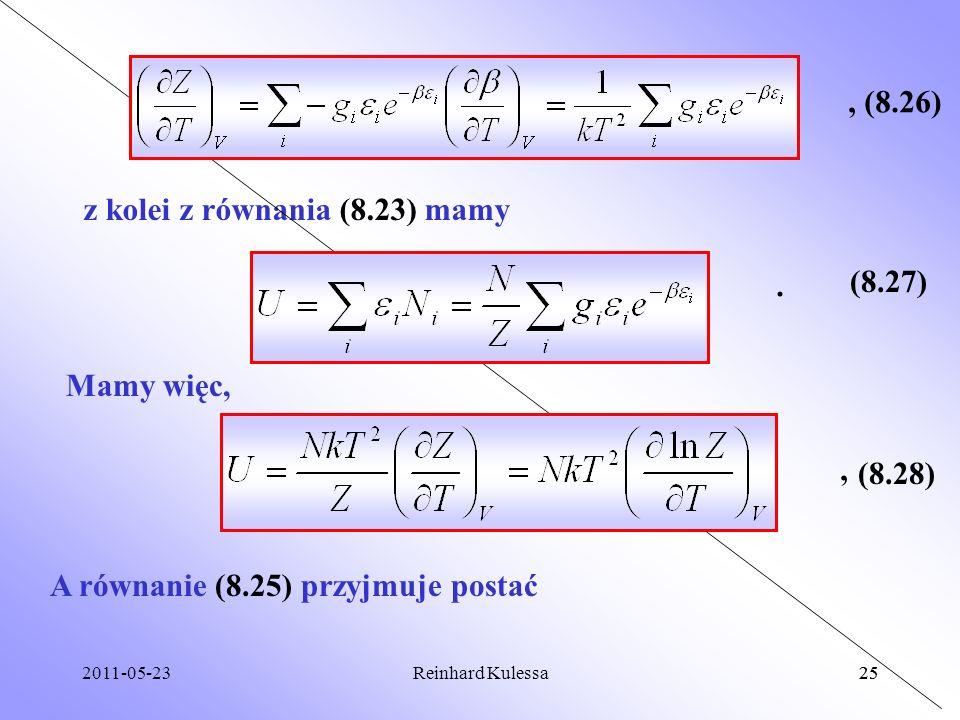 z kolei z równania (8.23) mamy