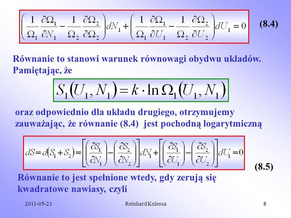 Równanie to stanowi warunek równowagi obydwu układów. Pamiętając, że