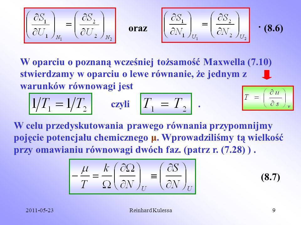 . oraz. (8.6) W oparciu o poznaną wcześniej tożsamość Maxwella (7.10) stwierdzamy w oparciu o lewe równanie, że jednym z warunków równowagi jest.