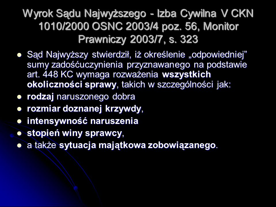 Wyrok Sądu Najwyższego - Izba Cywilna V CKN 1010/2000 OSNC 2003/4 poz