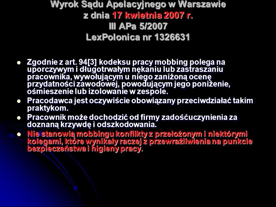 Wyrok Sądu Apelacyjnego w Warszawie z dnia 17 kwietnia 2007 r