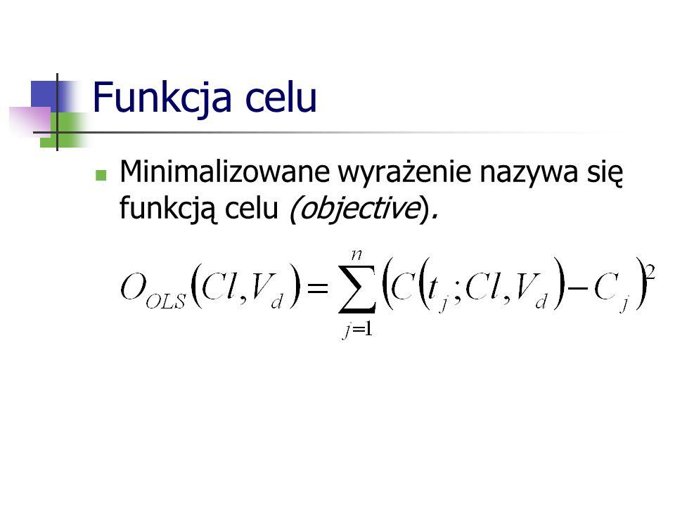 Funkcja celu Minimalizowane wyrażenie nazywa się funkcją celu (objective).
