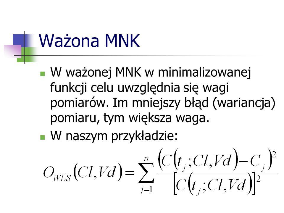 Ważona MNK W ważonej MNK w minimalizowanej funkcji celu uwzględnia się wagi pomiarów. Im mniejszy błąd (wariancja) pomiaru, tym większa waga.